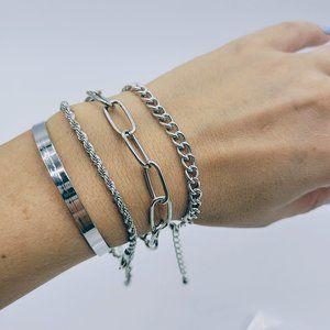 5 for $25 4 Piece Silver Color Bracelet Set
